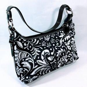 The Sak Crochet Shoulder Purse Handbag Black/White